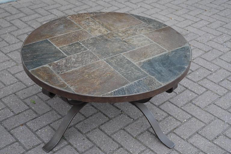 style wrought iron and slate round coffee table for sale at 1stdibs
