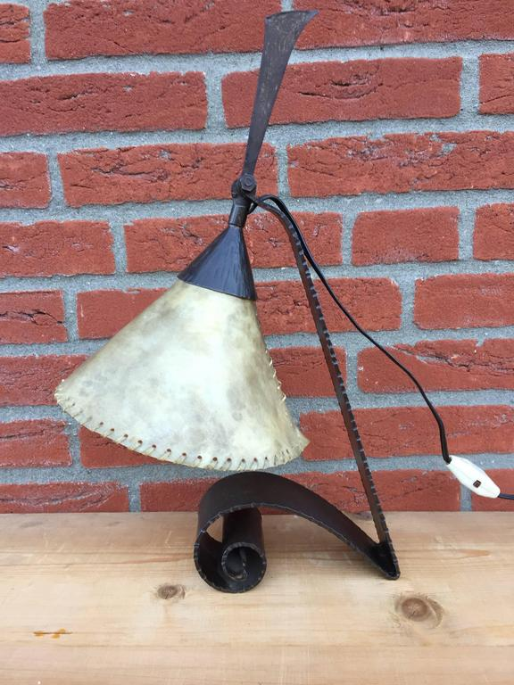 Arts & Crafts Wrought Iron Desk Lamp Handmade and Very Stylish, circa 1920 For Sale 2