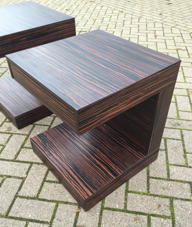 Pair of Art Deco Style and Cubical Macassar Nightstands or Bedside Tables For Sale 1
