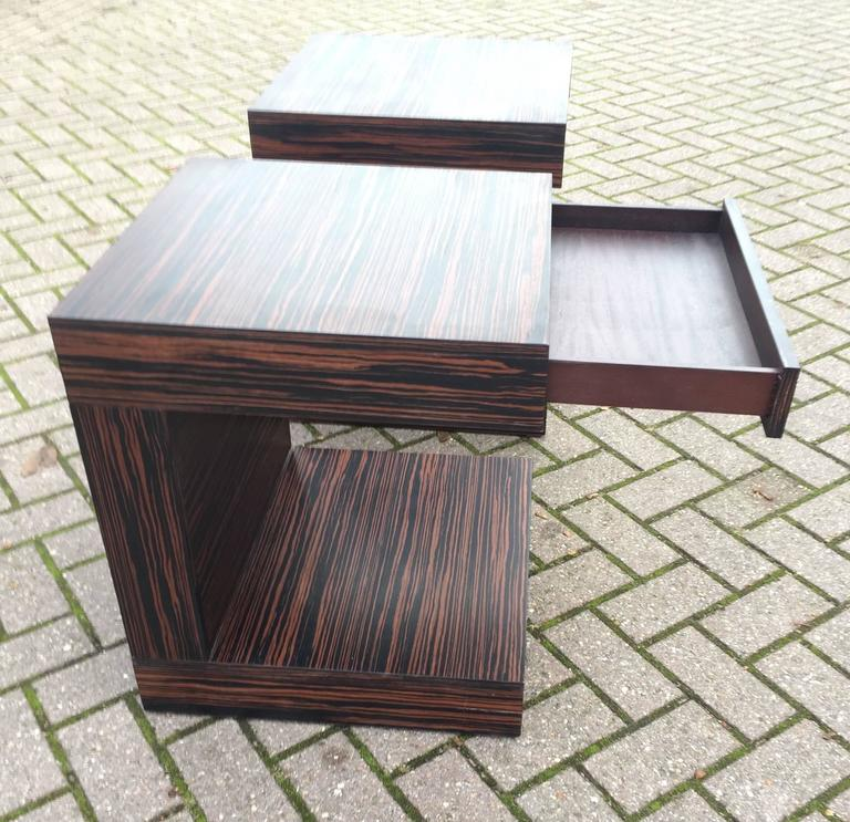 Pair of Art Deco Style and Cubical Macassar Nightstands or Bedside Tables For Sale 3
