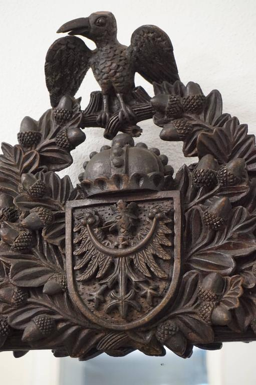Antique Carved Mirror With German Crest And Date Letter