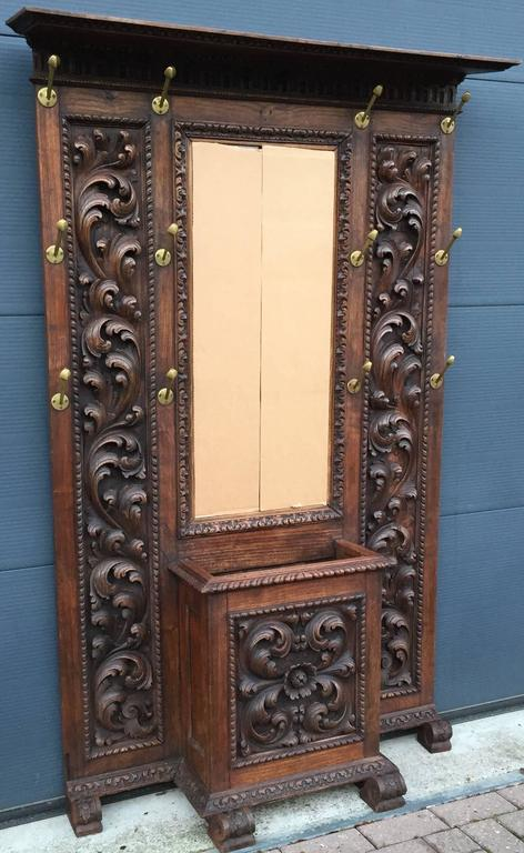 Antique And Magnificently Carved Coat Rack With Umbrella