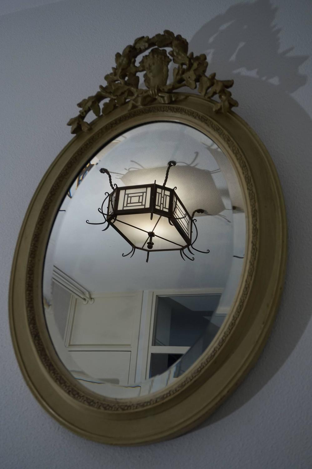 19th century victorian beveled oval mirror with carved for Oval mirror canada