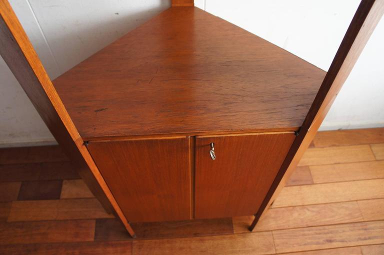 Norwegian Mid-Century Modern Scandinavian Design Corner Cabinet Bookcase or Stereo Cabinet For Sale