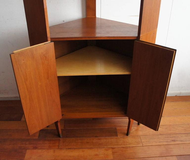 Mid-Century Modern Scandinavian Design Corner Cabinet Bookcase or Stereo Cabinet In Excellent Condition For Sale In Lisse, NL