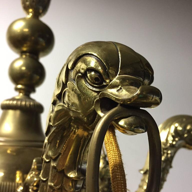 European Stunning Pendant Mythological Heraldic Sea Monster Brass and Bronze Chandelier For Sale