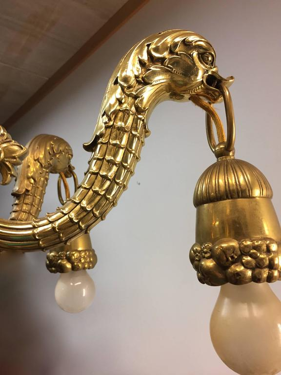 Stunning Pendant Mythological Heraldic Sea Monster Brass and Bronze Chandelier For Sale 2