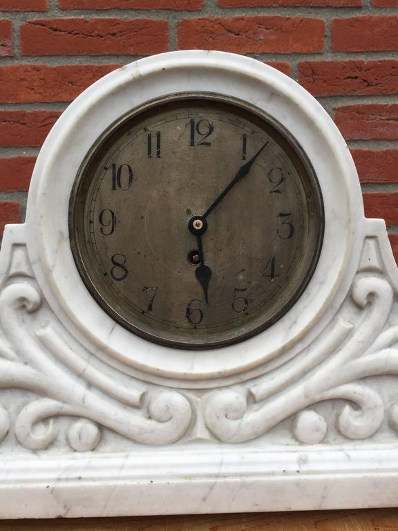 Early 1900 carved arts and crafts marble mantel clock with for Arts and crafts clocks for sale