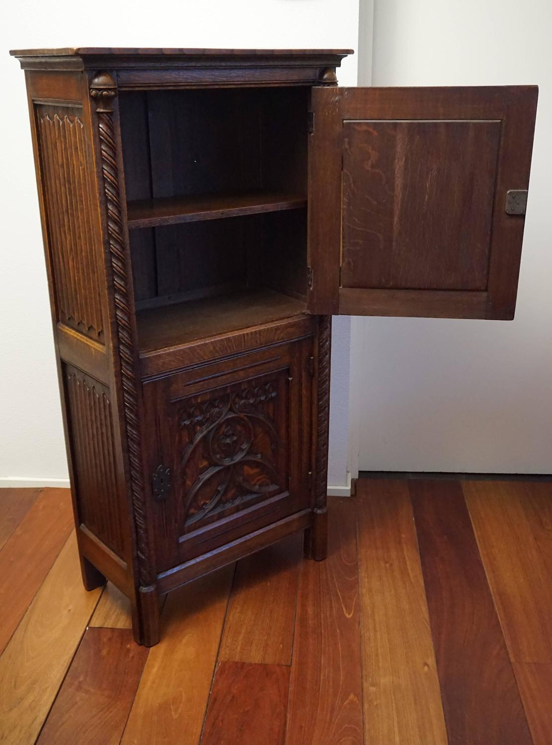 Gothic Revival Bookcase Carved Antique Cabinet With Wrought Iron Lock Plates For Sale At 1stdibs