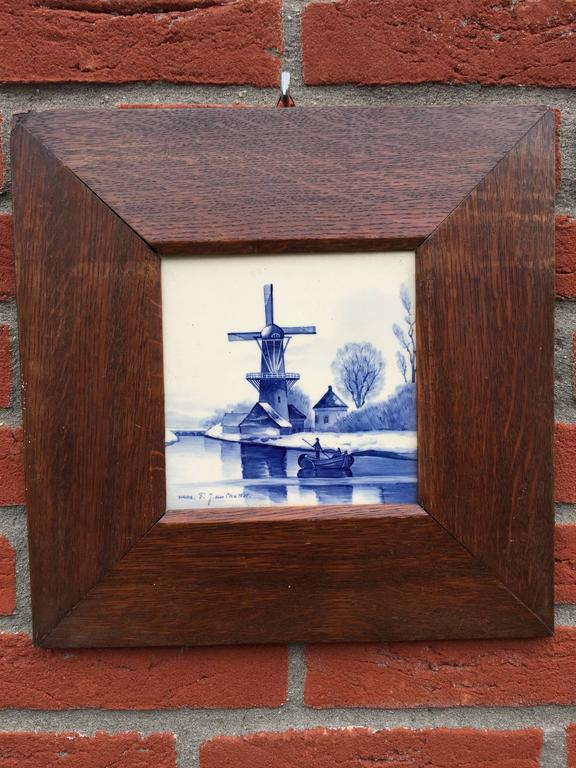 Pair Of Hand Painted Delft Blue Tiles In Picture Frame