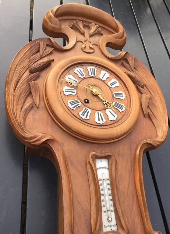 Wall Clock Art Nouveau : French art nouveau l ecole nancy style carved wall clock