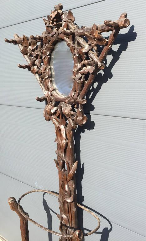 19th Century Black Forest Carved Tree Shaped Coat Rack, Umbrella Hall Stand 6