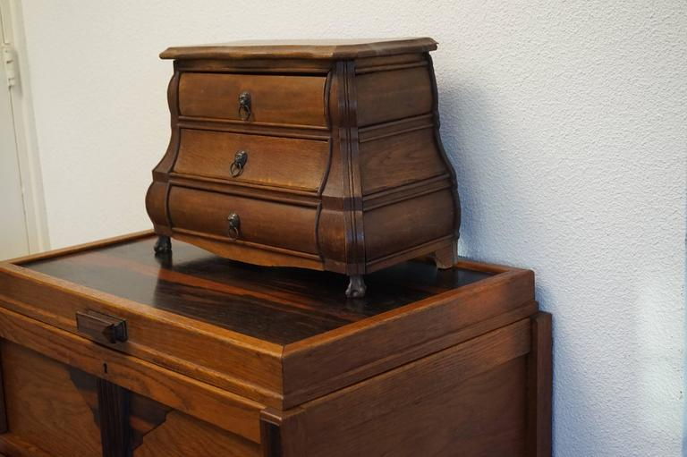 Hand-Crafted Early 20th Century, Miniature Rococo Style Dutch Chest of Drawers Oak and Beech  For Sale