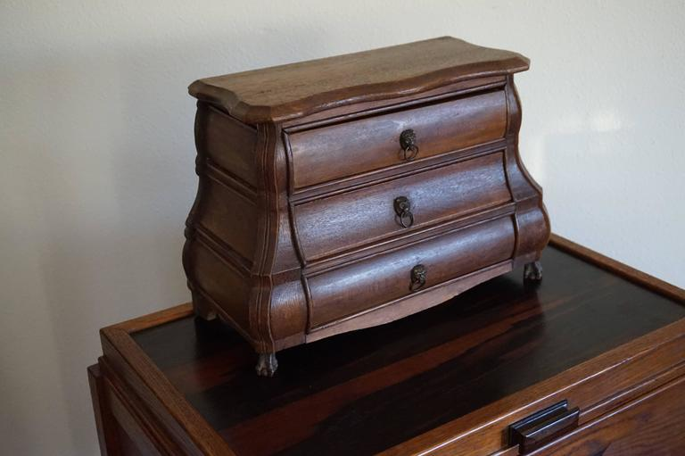 Early 20th Century, Miniature Rococo Style Dutch Chest of Drawers Oak and Beech  For Sale 3