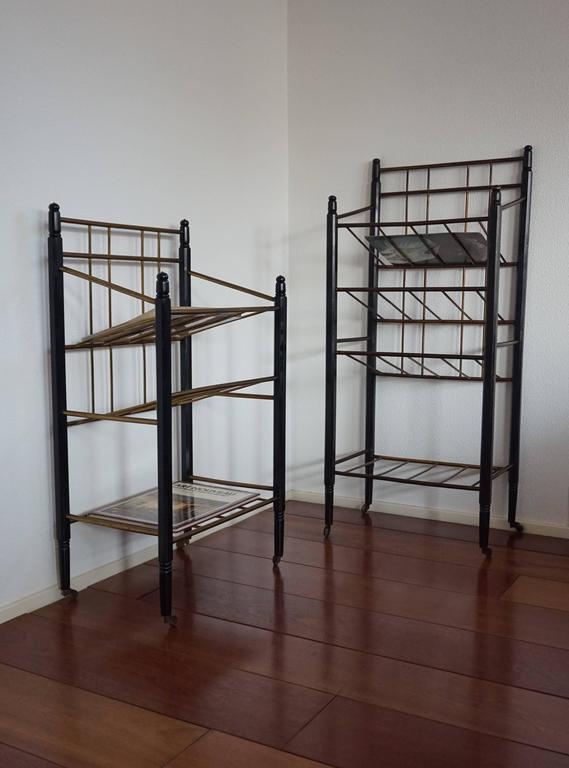 near pair of ebonized oak and brass art deco magazine stand carts ernst rockhausen for sale at. Black Bedroom Furniture Sets. Home Design Ideas