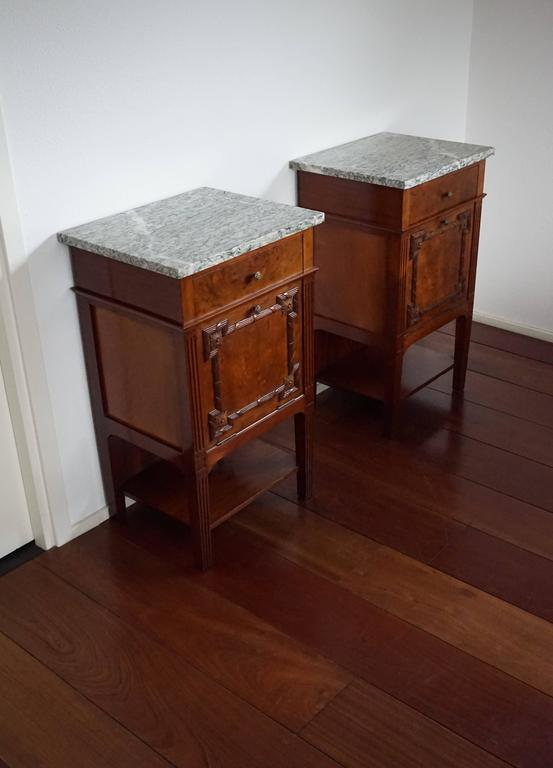 Antique Mahogany Bedside Tables / Cabinets With Carved Elements And Green  Marble 2
