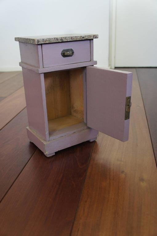 Painted 1920 Art Deco Miniature Bedroom Furniture Wardrobe Bedside Cabinet & Wash Stand For Sale