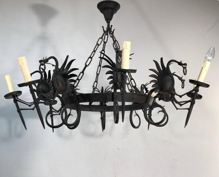 20th Century Impressive Large Forged Wrought Iron Eight-Light Chandelier w Dragon Sculptures For Sale