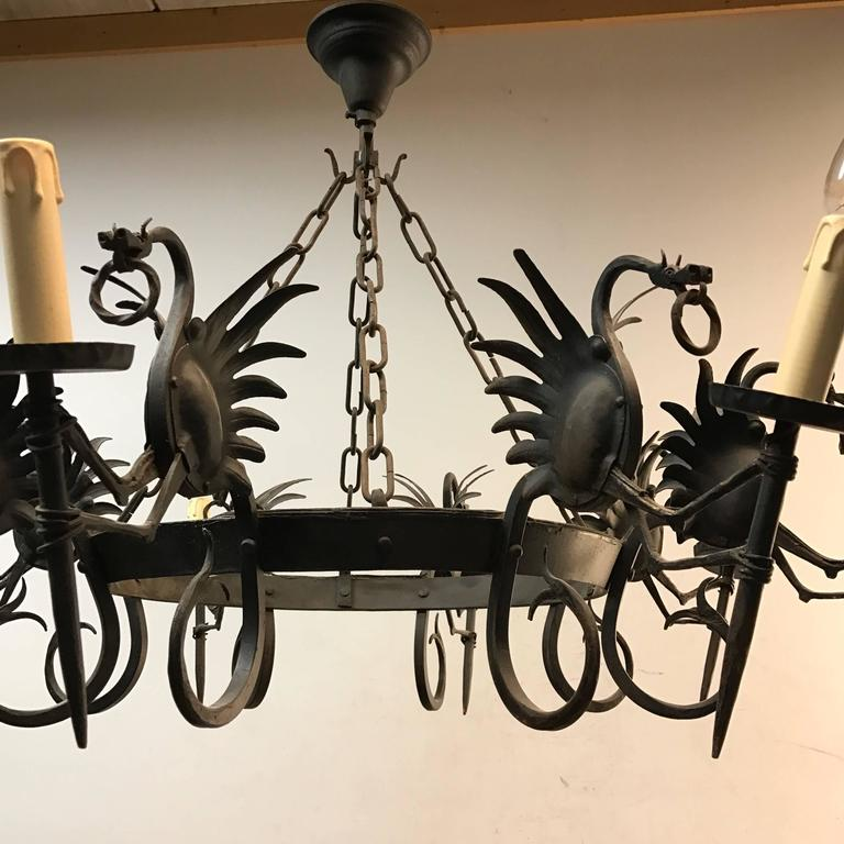 Metal Impressive Large Forged Wrought Iron Eight-Light Chandelier w Dragon Sculptures For Sale