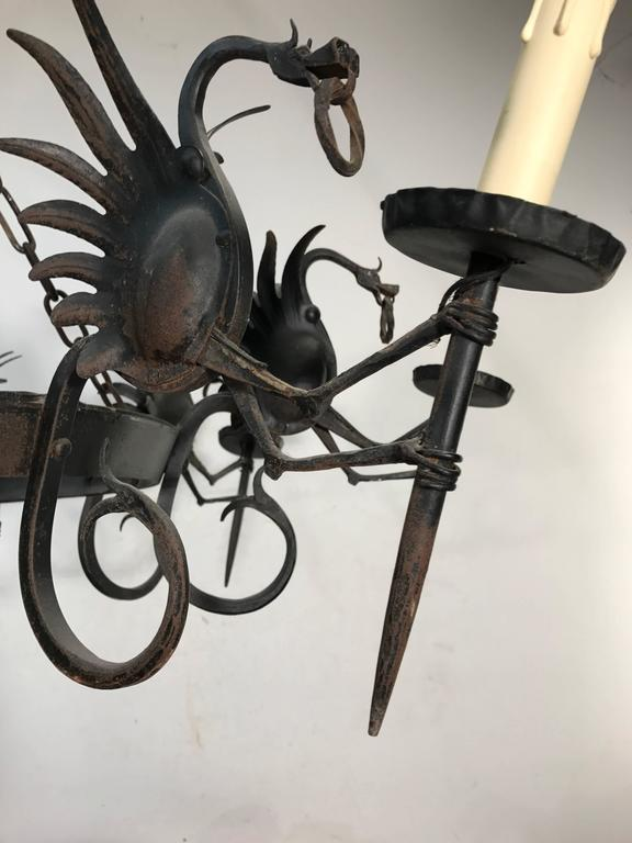 Impressive Large Forged Wrought Iron Eight-Light Chandelier w Dragon Sculptures For Sale 1