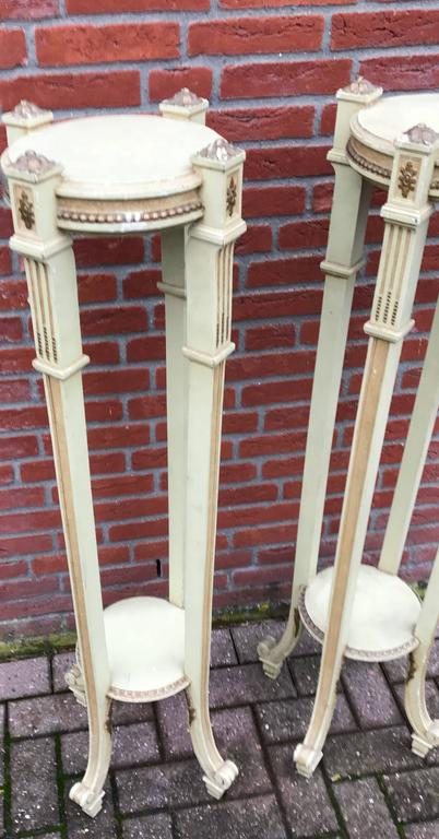 Magnificent Pair of Early 1900 Wooden Torchieres Column Pedestal Plant Stands For Sale 2