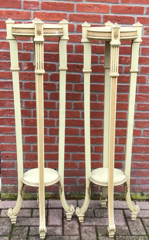 Magnificent Pair of Early 1900 Wooden Torchieres Column Pedestal Plant Stands For Sale 3
