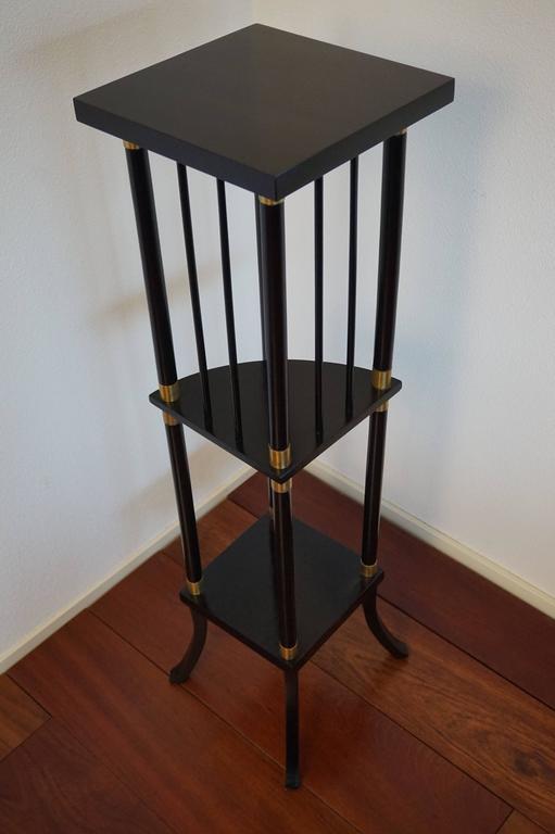 Vintage Ebonized Wood and Brass Modernist Pedestal Plant Stand Mid
