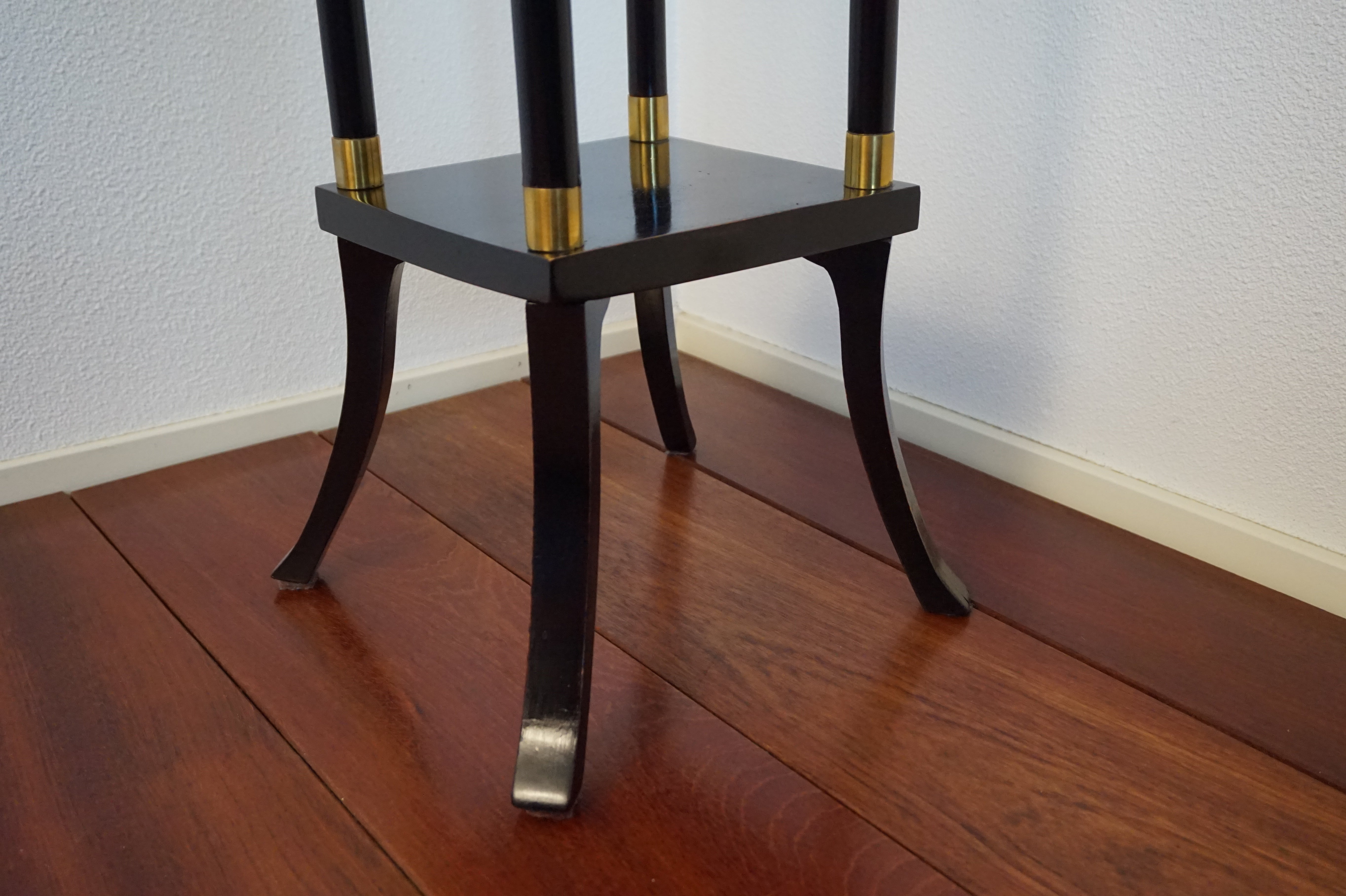 Vintage Ebonized Wood And Brass Modernist Pedestal Plant Stand Mid Century