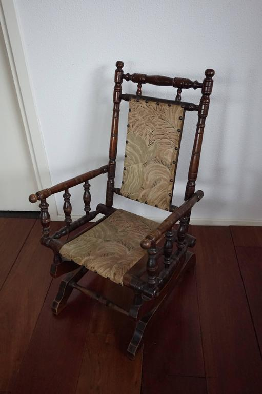 Victorian Rare Antique Rocking Chair for Children American Rocker for Child  or Toy Bear For Sale - Rare Antique Rocking Chair For Children American Rocker For Child Or