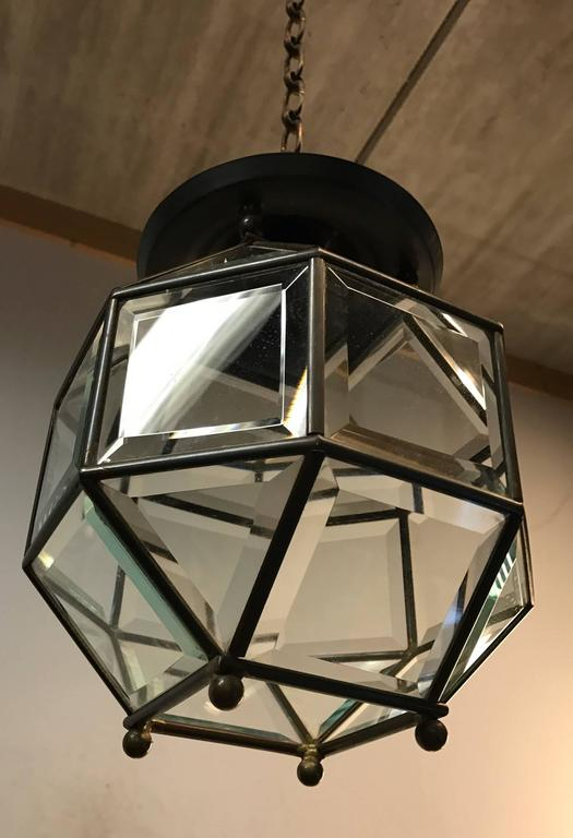 European Early 1900s Bevelled Glass Pendant Cubic Ceiling Light in Adolf Loos Style For Sale