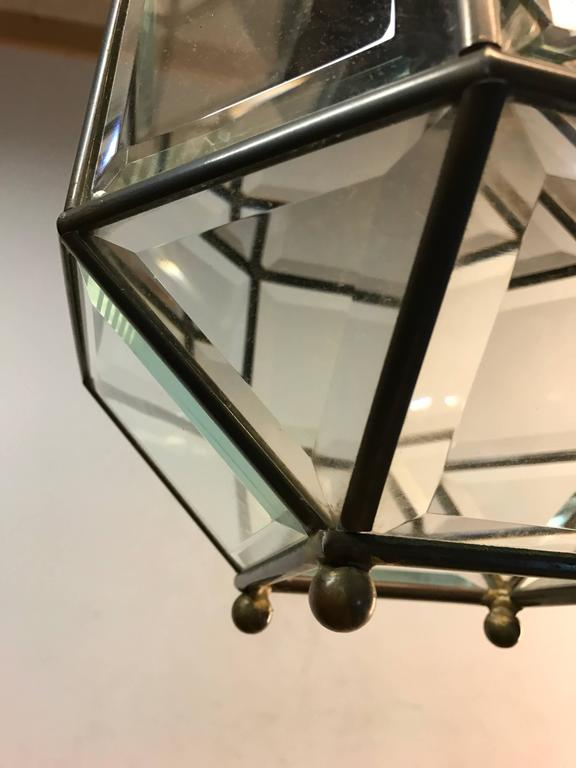 Early 1900s Bevelled Glass Pendant Cubic Ceiling Light in Adolf Loos Style In Excellent Condition For Sale In Lisse, NL