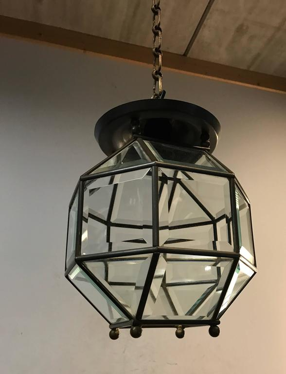 Early 1900s Bevelled Glass Pendant Cubic Ceiling Light in Adolf Loos Style For Sale 1