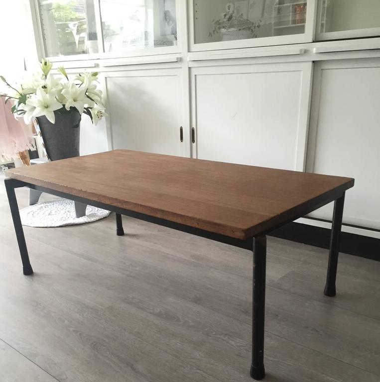 1950s Industrial Coffee Table Blacked Metal And Thick