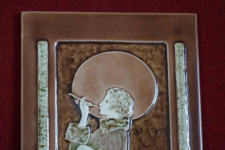 Art Deco Style Majolica Glazed Tile In Relief Lady Smoking