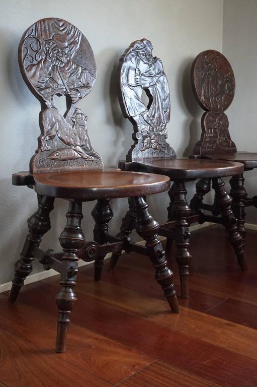 Six Antique U0026 Hand Carved German Tavern / Drinking Chairs With Aphorisms  Sayings 3