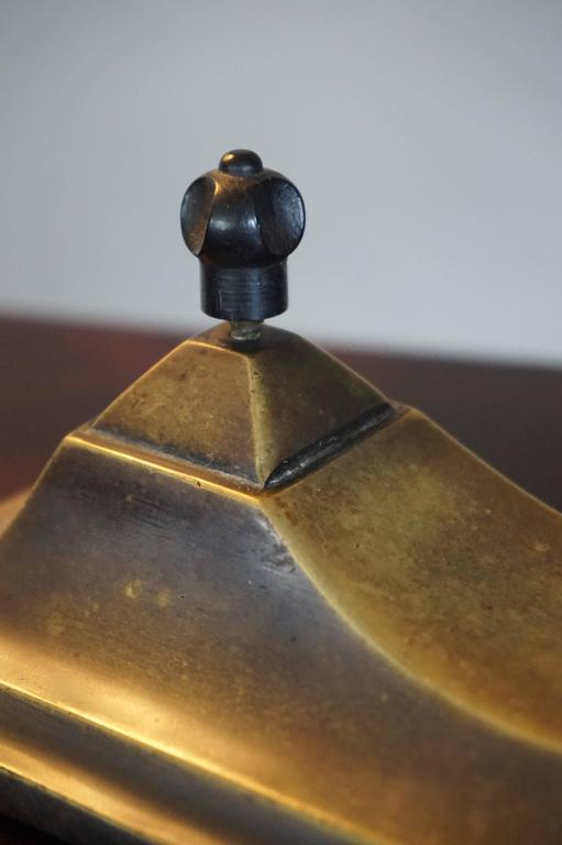 Stunning Art Deco Brass and Pate Verde Table or Desk Lamp by Jean Noverdy France For Sale 3