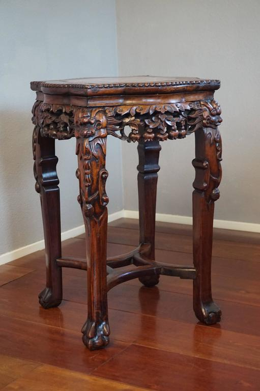 Antique Carved And Signed Chinese Rosewood And Marble