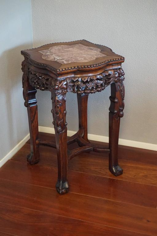 Antique carved and signed chinese rosewood marble