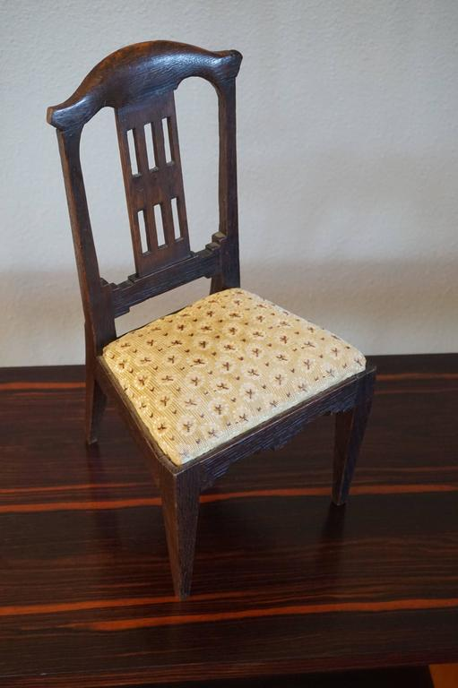 European Antique Handcrafted Jugendstil Oak Miniature or Doll Chair Beautiful Design For Sale
