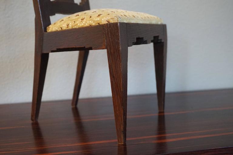 Antique Handcrafted Jugendstil Oak Miniature or Doll Chair Beautiful Design For Sale 1