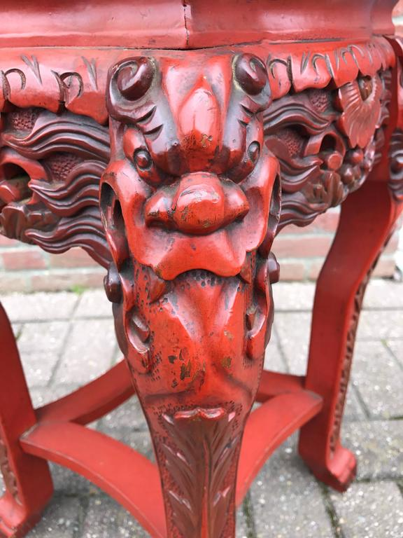 Antique Japanese Carved Wood Red Lacquered And Marked