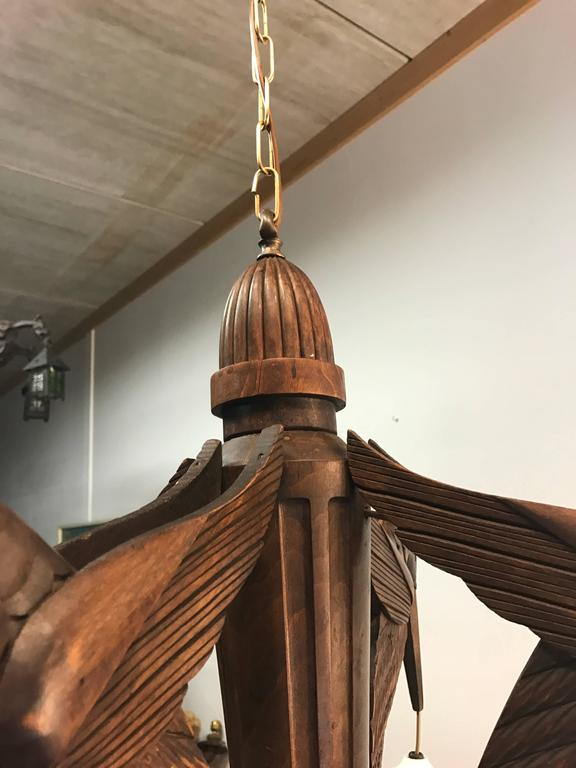 Amazing Hand-Carved Art Deco Pendant / Chandelier with Stylized Hummingbirds 8