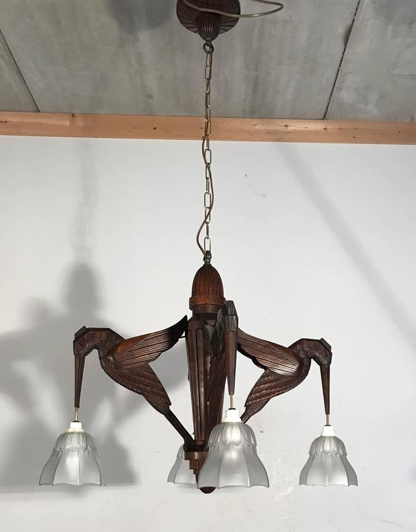 Amazing Hand-Carved Art Deco Pendant / Chandelier with Stylized Hummingbirds 4