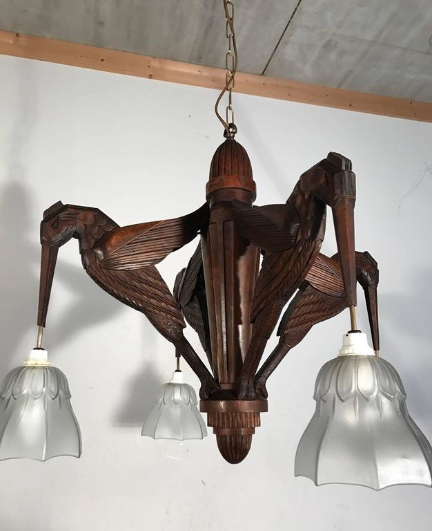 Amazing Hand-Carved Art Deco Pendant / Chandelier with Stylized Hummingbirds 5