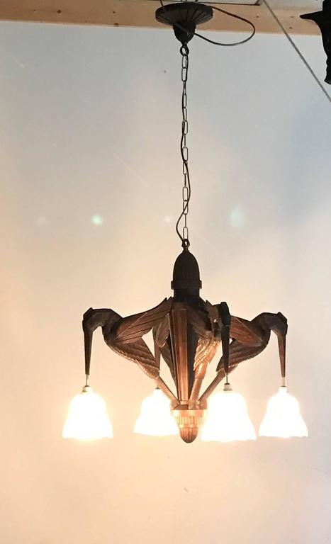 Amazing Hand-Carved Art Deco Pendant / Chandelier with Stylized Hummingbirds 7