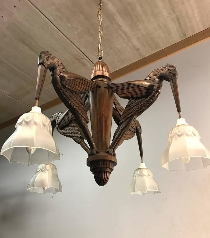 Amazing Hand Carved Art Deco Pendant Chandelier With