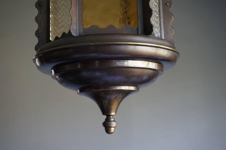 Dutch Unique Early 20th Century Art Nouveau Hexagonal & Circular Brass & Glass Pendant For Sale