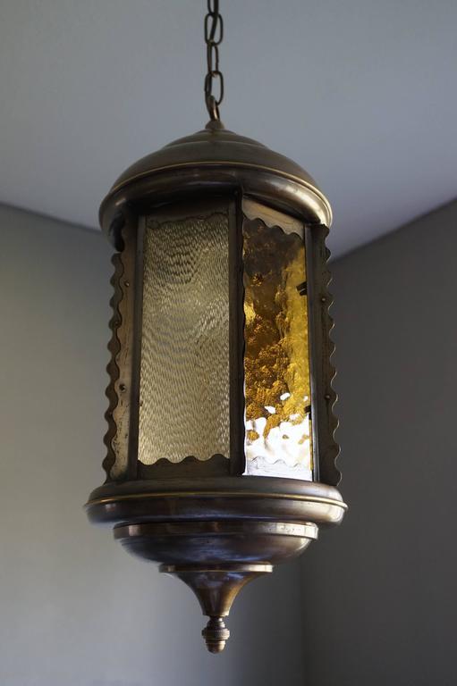 Unique Early 20th Century Art Nouveau Hexagonal & Circular Brass & Glass Pendant For Sale 3