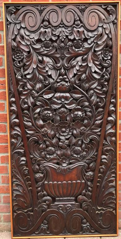 Impressive, large and highly decorative wall panel.  Most people would not be able to draw a picture like this, but the craftsman who made this astonishing panel is not 'most people'. The size, the shape, the quality and the look and feel of this