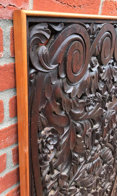 Neoclassical Revival Antique and Incredibly Detailed, Large Hand Carved Mahogany Wall Panel/Plaque For Sale